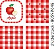 Apples and Gingham Seamless Patterns, fresh, garden fruit, illustration label tag with text, EPS8 includes 3 check pattern swatches (tiles) that will seamlessly fill any shape. - stock vector