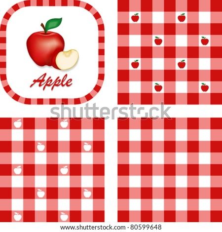 Apples and Gingham Seamless Patterns, fresh, garden fruit, illustration label tag with text, EPS8 includes 3 check pattern swatches (tiles) that will seamlessly fill any shape.