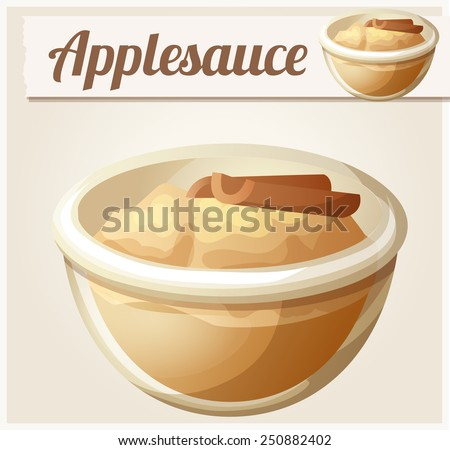 Applesauce. Detailed Vector Icon. Series of food and drink and ingredients for cooking. - stock vector