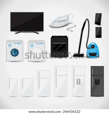 Appliances 3D Set - Isolated On Gray Background - Vector Illustration, Graphic Design, Editable For Your Design - stock vector