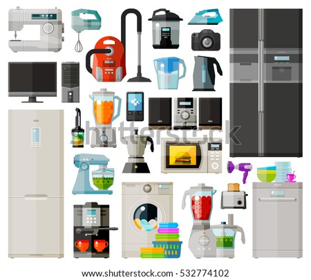 Appliances. Set icons refrigerator, vacuum cleaner, coffee, pc, washing machine, microwave oven, blender, television, music system, dish washer, photo, hairdryer, phone