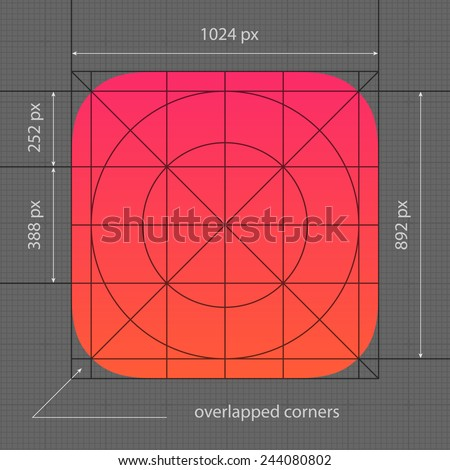 Application Icon Template with Guidelines for Contemporary Mobile Operating System.  - stock vector