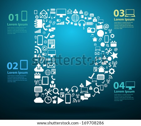 Application icons alphabet letters D design, Technology business software and social media networking online concept, Vector illustration modern template design - stock vector