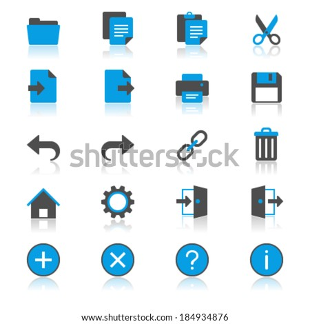 Application toolbar flat with reflection icons - stock vector