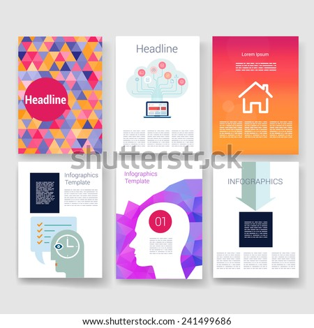 Applications and Infographic Concept. Flyer, Brochure Design Modern user interface (ux, ui) screen template for mobile smart phone or web site. Transparent blurred material design ui with icons.  - stock vector