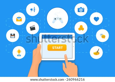 Applications for tablet pc with gaming icon in the center - stock vector