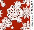 Applique snowflakes Christmas seamless background easy editable color background - stock vector