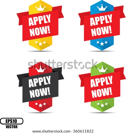 Apply now  label and sign - Vector illustration - stock vector