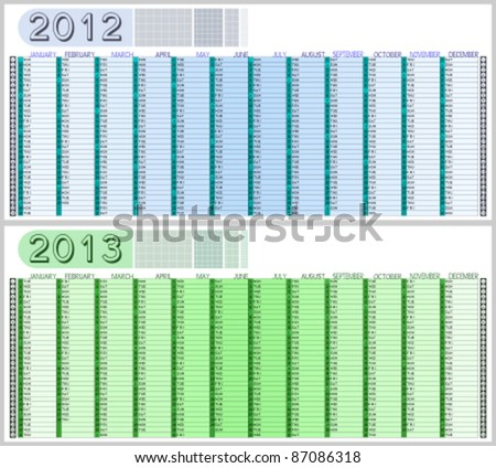 Appointment Calendar for 2012 and 2013. Highlighted sundays. Easy to edit. Space for text/logo/image on top. - stock vector