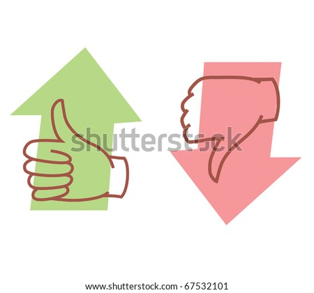 approval or disapproval arrow icons vector - stock vector