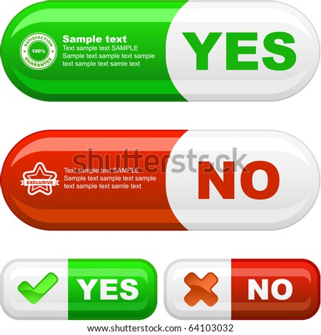 Approved and rejected button set. Vector illustration. - stock vector