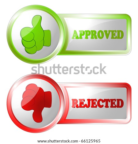 approved and rejected buttons - stock vector