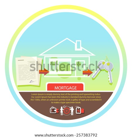 Approved mortgage loan application with house key and home. Concept in flat design cartoon style on stylish background - stock vector