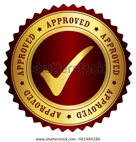 Approved rubber stamp gold and red grunge isolated on white background
