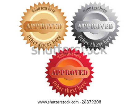 Approved seal in different colors - stock vector