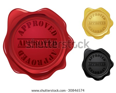 Approved wax seal stamps - stock vector