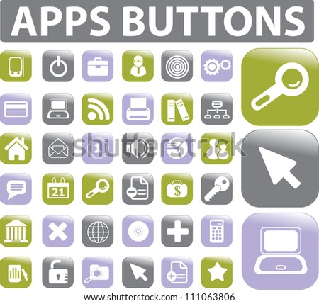apps buttons icons set, vector - stock vector