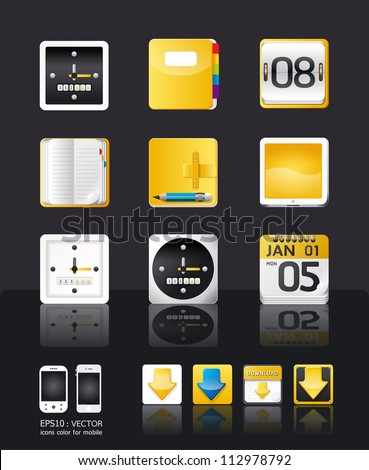 apps icon set vector/tablet & mobile phone apps/yellow color style - stock vector
