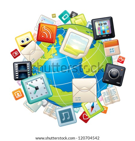 Apps Icons Flying Around the World Globe. Vector Concept - stock vector