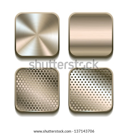 Apps metal icon set. Vector illustration - stock vector