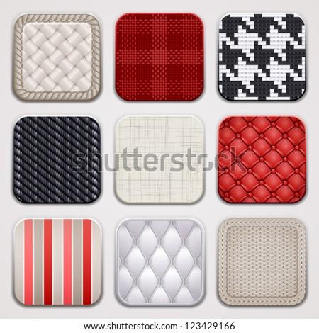 Apps set. Textile textures. Square backgrounds. - stock vector