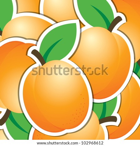 Apricot sticker background/card in vector format.