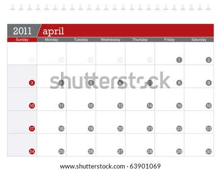 April 2011 Calendar - stock vector
