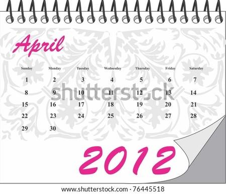 April- Calendar 2012 - stock vector