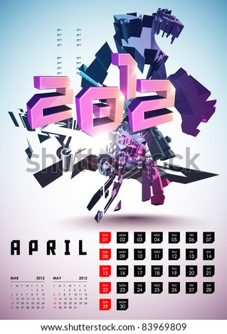 April - Calendar Design 2012 - stock vector