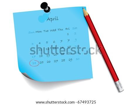 April calendar on notepad - stock vector