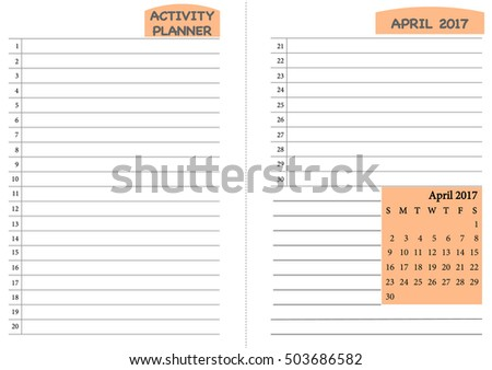 April 2017 Calendar Template Monthly Planner Stock Vector Hd