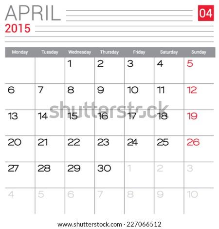April 2015 Calendar Vector Design Template Stock Vector 227066512