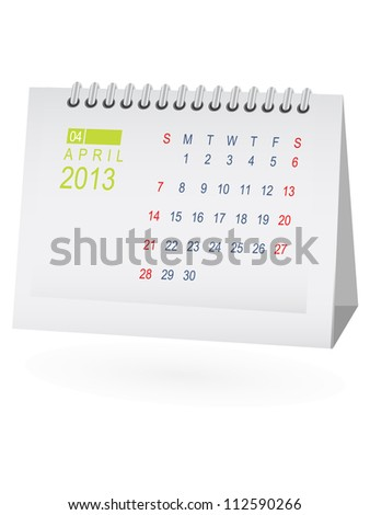 April 2013 Desk Calendar - stock vector