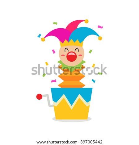April Fool's Day / Jester In A Box - stock vector