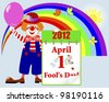 April fools' day. Cute clown in a hat with a calendar against rainbow and butterflies. Vector illustration. - stock vector
