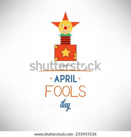 April 1 Fools Day flat design vector illustration on white backgrounds. - stock vector