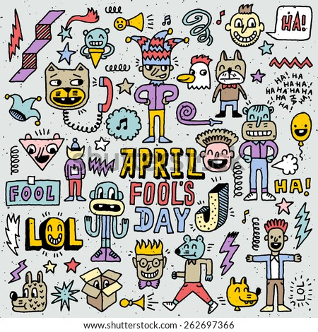 April fools day funny doodle colorful set 1. Vector illustration. Hand drawn.  - stock vector