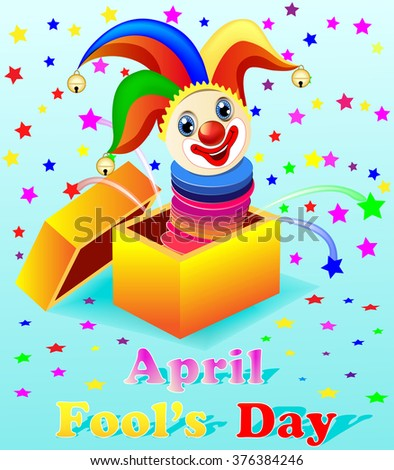 April Fools Day illustration with a cheerful clown out of the box - stock vector