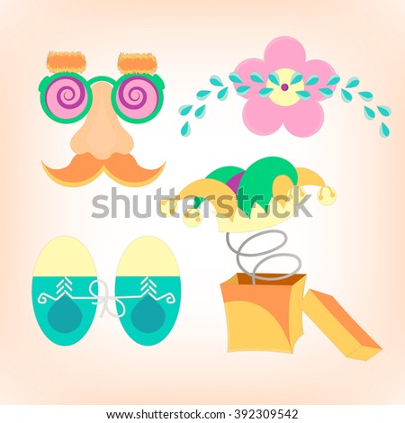 April fools day. Items for the Raffle.  - stock vector