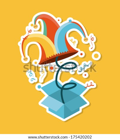 april fools day over yellow background vector illustration - stock vector