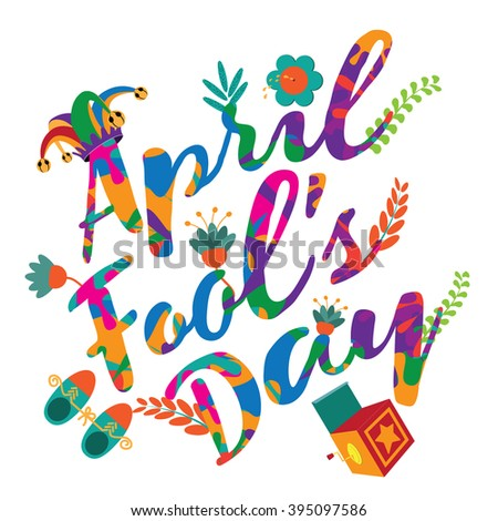 April Fools Day text and funny gag items. EPS 10 vector illustration. - stock vector