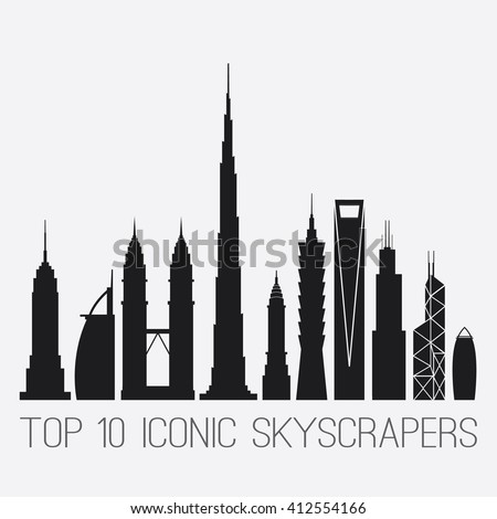 April 27, 2016. Iconic Skyscrapers. Empire St. Building, Burj Al Arab, Petronas Towers, Burj Khalifa, Chrysler Building, Taipei 101, Shanghai World Financial Ctr, Willis And Bank of China TWR, Gherkin - stock vector