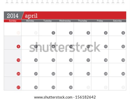 april 2014 planning calendar - stock vector