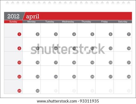 april 2012-planning calendar - stock vector