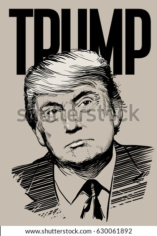 April 29, 2016: Portrait of Donald Trump. Vector illustration .eps10. Editorial use only