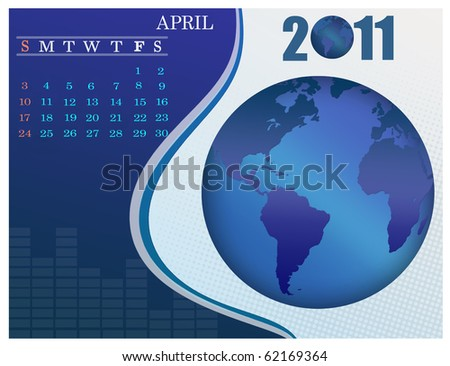 April - the Earth blue calendar for 2011, weeks starts on Sunday. Business Calendar. - stock vector