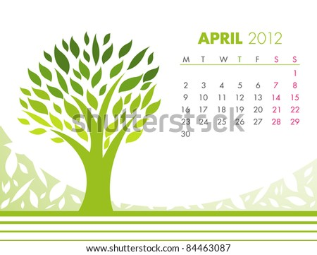 April Tree Calendar 2012. VECTOR