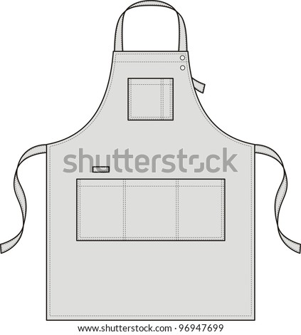 Apron with pockets, a shoulder strap and a belt - stock vector