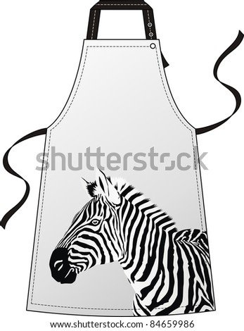 Apron with the image of a head a zebra - stock vector