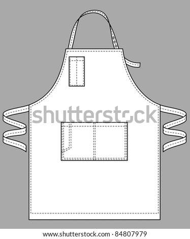 Apron with various pockets, a belt and a shoulder strap - stock vector